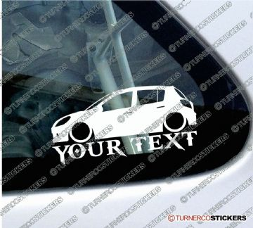 2x Custom YOUR TEXT Lowered car stickers - Renault Clio Mk3 5-door (2005-2009)